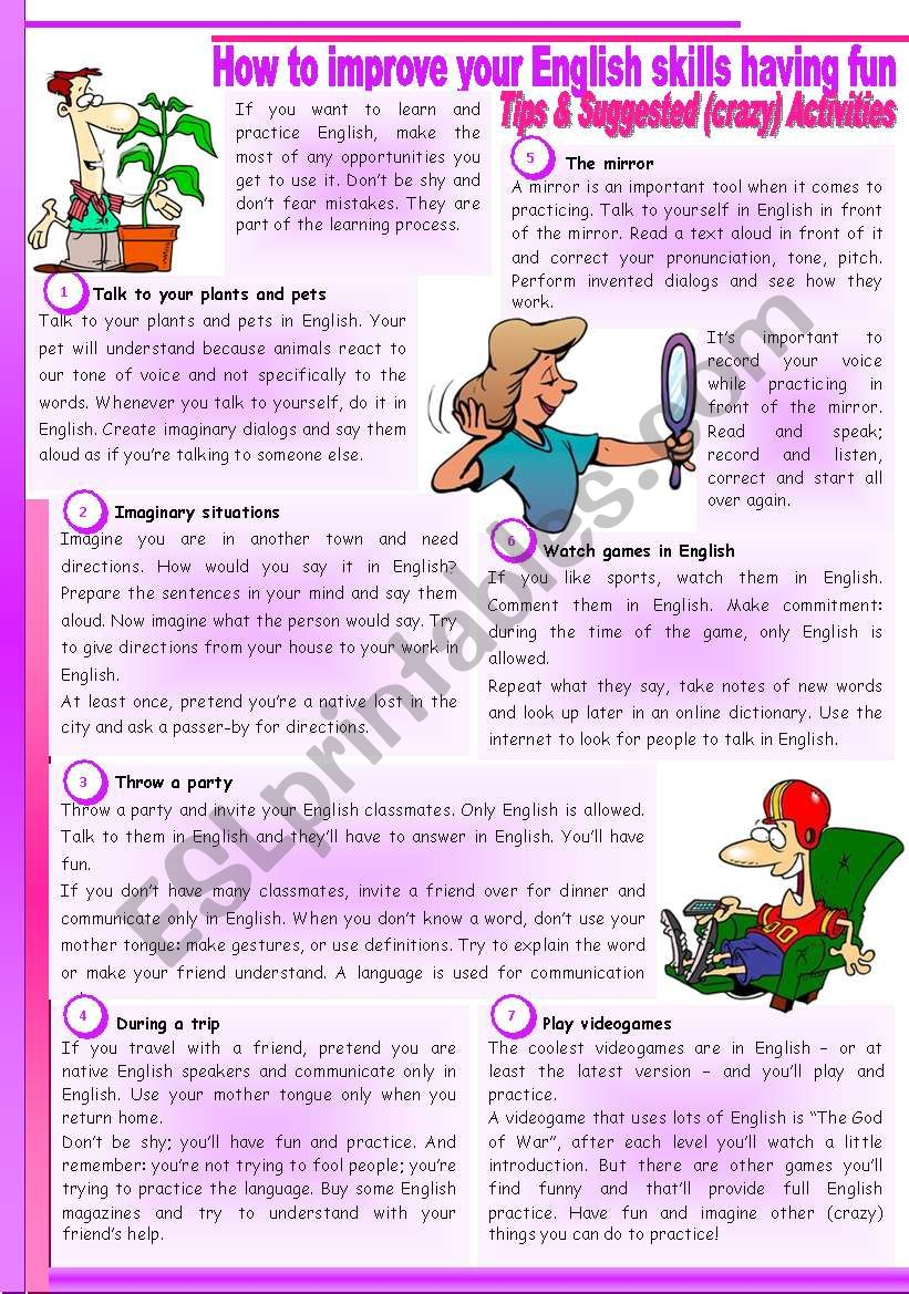 How to improve your English skills having fun – Students' guide [Reading] (Tips and [crazy] Activities)